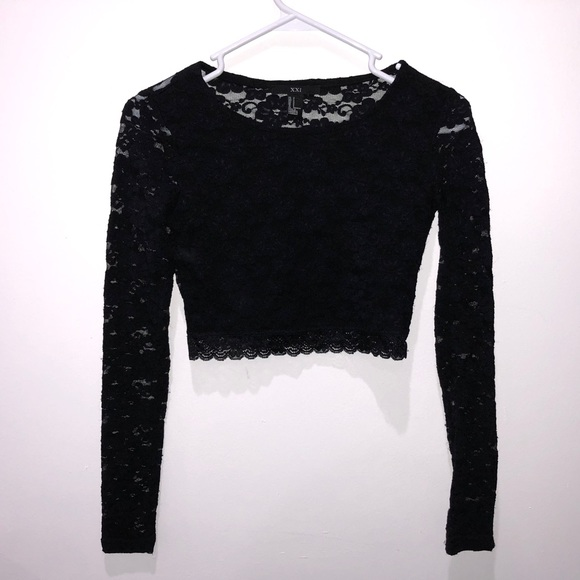 8f85216b3cbb70 Forever 21 Tops - Forever 21 black lace crop top